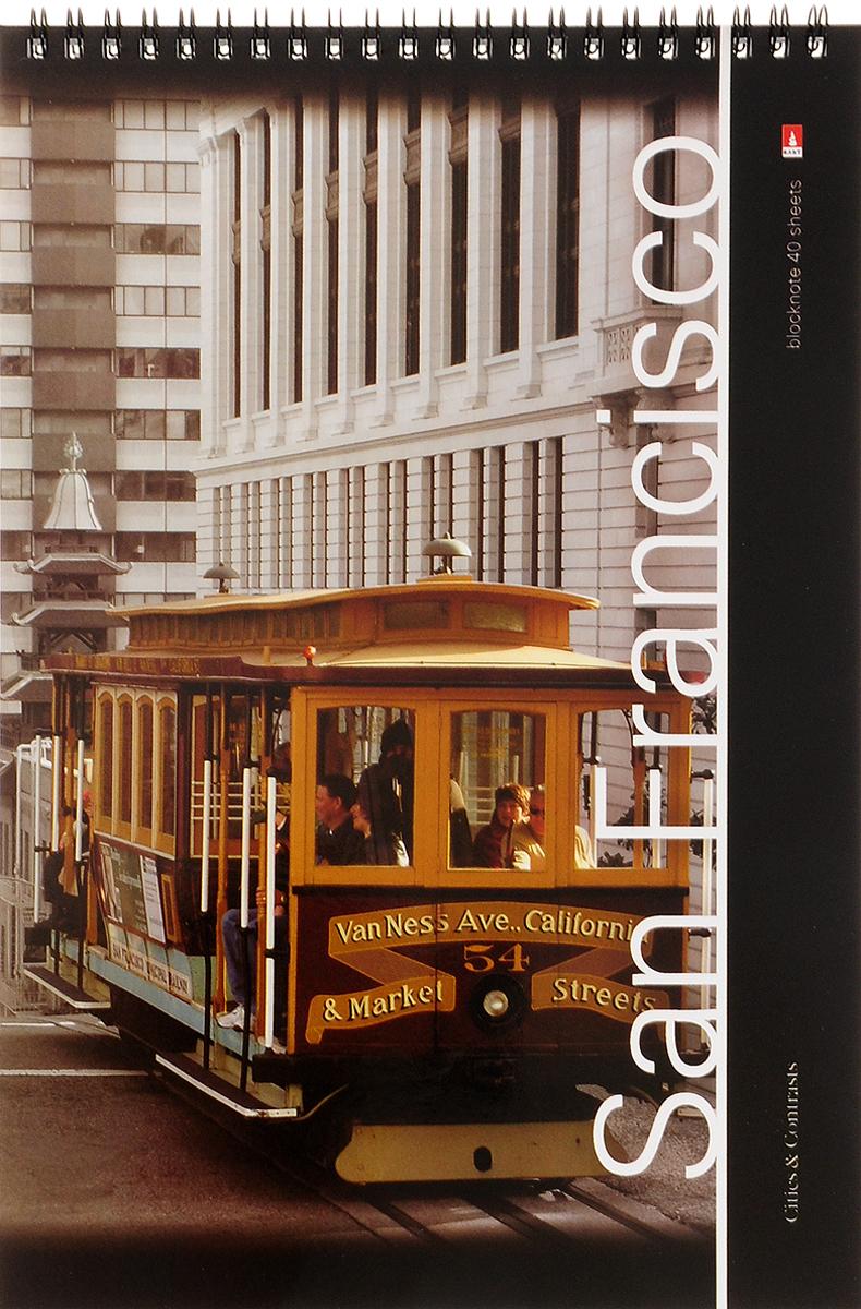 Альт Блокнот Города San Francisco 40 листов2170943_San FranciscoБлокнот Альт Города. San Francisco отлично подойдет для ведения любых записей.Внутренний блок, соединенный гребнем, состоит из 40 листов белой бумаги. Стандартная линовка в клетку голубого цвета не имеет полей.