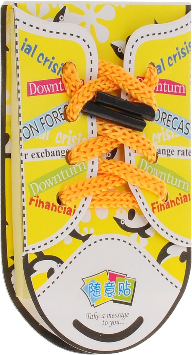 Карамба Блокнот Кеды 50 листов цвет желтый561951Оригинальный блокнот Карамба Кеды - незаменимая вещь для офиса, школы и дома.Обложка блокнота изготовлена из ламинированной бумаги и оформлена текстильным шнурком. Внутренний блок состоит из 50 желтых прямоугольных стикеров. Стикеры имеют клеящиеся края, что удобно для повседневного использования. Блокнот идеален для пометок и записей.