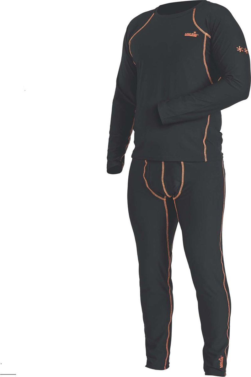 Комплект термобелья мужской Norfin Thermo Line 2, цвет: черный. Размер XXL (60/62)30083Термобелье базового слоя сшито так, что совершенно не стесняет движения тела, обеспечивая максимальную эластичность там, где это нужно. Может использоваться для повседневной носки в прохладную погоду, а также идеально защитит от холода на рыбалке, охоте, отдыхе на природе. - Эластичный пояс- Эластичные манжеты на рукавах и штанах