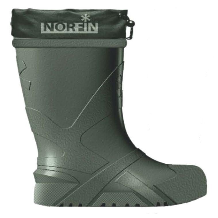 Сапоги для рыбалки мужские Norfin Berings, цвет: олива. 14861. Размер 43/4414861-4344Сапоги для рыбалки мужские Norfin Berings изготовлены из материала ЕVА. Сапоги имеют вынимаемый вкладыш и обеспечивают термозащиту в динамике при температуре до -45°С. Удобная амортизирующая колодка, позволяет преодолевать большие расстояния по снегу или льду с минимальными физическими затратами и нагрузками на суставы и позвоночник. Конструкция подошвы, без выраженного каблука, увеличивает сцепление и устойчивость на снегу и льду. Внутреннее строение подошвы имеет вафельную структуру, позволяющую собирать конденсат с вкладыша, если он образовался. Пятислойный вкладыш, толщиной 20 мм, обеспечивает термоизоляцию и отвод влаги от тела:- 70% искусственный мех и 30% натуральной овечьей шерсти обеспечивают термозащиту и отвод влаги от ног.- Трикотажно-гидрофобное волокно – мембрана для отвода влаги.- Нетканое полотно сохраняет форму вкладыша.- Металлизированная перфорированная фольга отражает холод наружу, а тепло к ноге.- Мембранная защитная сетка сохраняет целостность фольги.- Материал Oxford 600 повышает износостойкость пяточной части вкладыша.