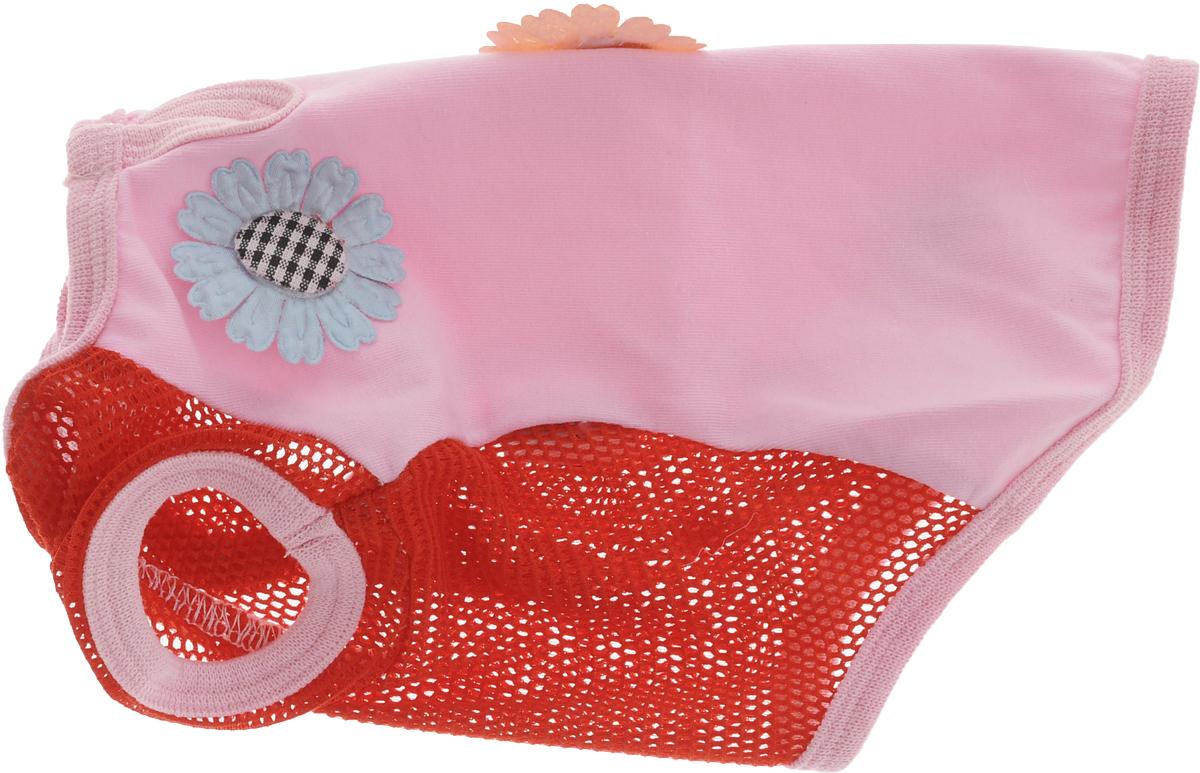 Майка для собак Pret-a-Pet 3 Д картинки, цвет: красный, розовый. Размер SMOS-012-S_красный, розовыйМайка для собак Pret-a-Pet 3 Д картинки выполнена из высококачественного материала с сеткой. Короткие рукава не ограничивают свободу движений, и собачка будет чувствовать себя в ней комфортно. Изделие застегивается с помощью кнопки на шее.Майка оформлена декоративными объемными аппликациями. Модная и невероятно удобная трикотажная майка защитит вашего питомца от пыли и насекомых на улице, согреет дома или на даче.