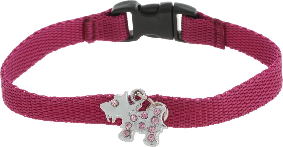 Ошейник для собак GLG Собачка, с подвеской, цвет: вишневый, длина 22 см globo agam 3419