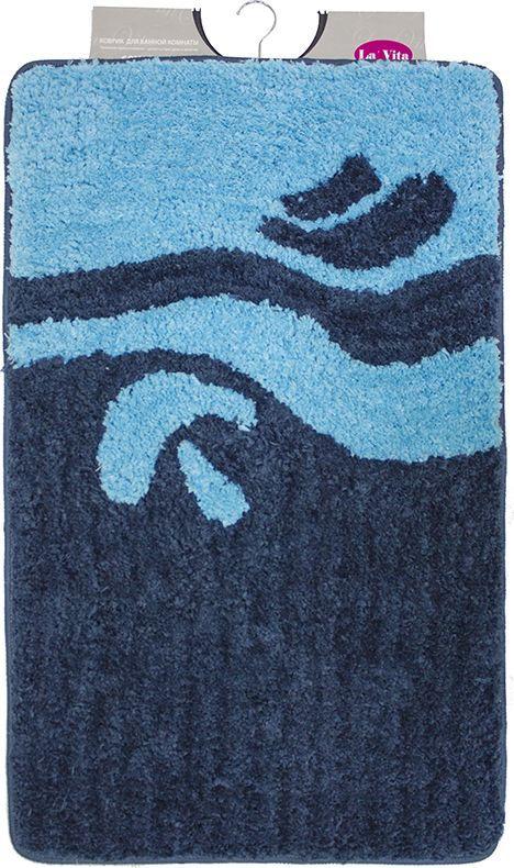 Коврик для ванной комнаты Dasch Симона, цвет: синий, голубой, 60 х 100 см коврик круглый для ванной dasch орнелла