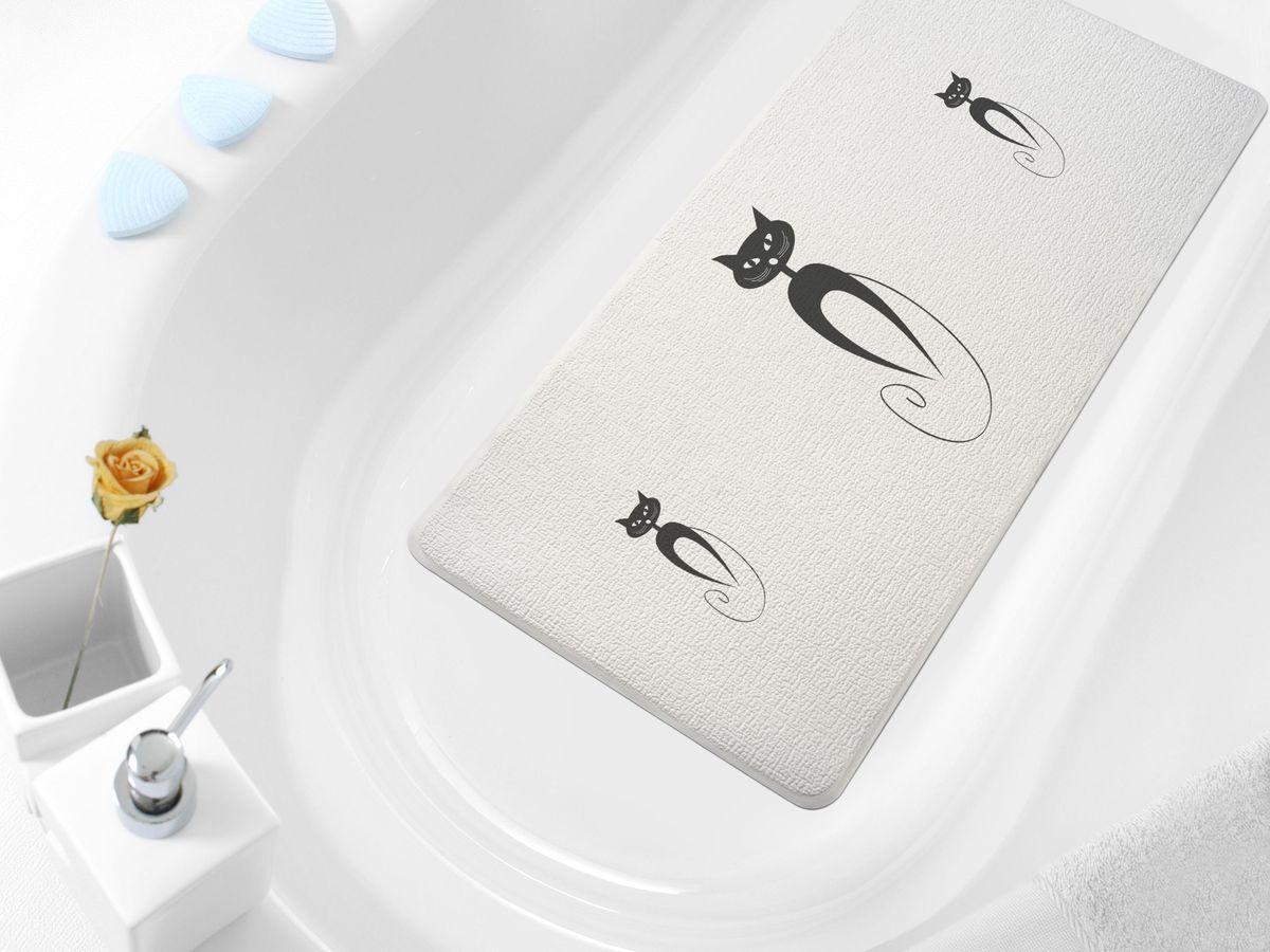 Коврик в ванну Bacchetta Cats, цвет: белый, 36 х 71 см4804Практичный коврик Bacchetta на присосках предназначен для ванной. Коврик выполнен из высококачественного вспененного ПВХ, поэтому изделие обладает мягкостью и эластичностью. Коврик подходит для всех типов ванн и душевых кабин, он хорошо фиксируется на поверхности за счет вакуумных присосок. Предназначен для использования в ванной или душевой кабине в гигиенических целях и для обеспечения безопасности. Коврик предотвращает возможность травм при падении на скользкой поверхности.