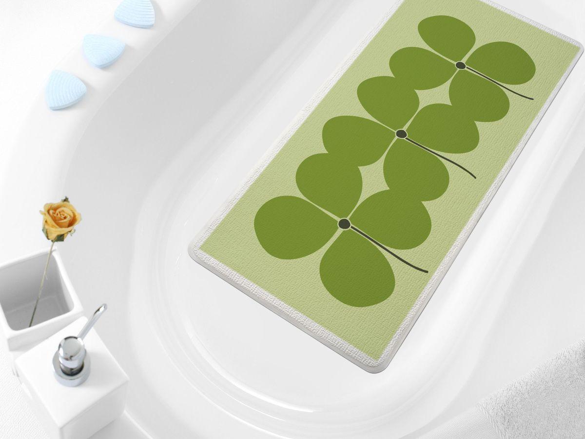 Коврик в ванну Bacchetta Quadrifoglio, цвет: зеленый, 36 х 71 см4805Практичный коврик на присосках для ванной. Коврик выполнен из высококачественного вспененного ПВХ, поэтому изделие обладает мягкостью и эластичностью. Коврик подходит для всех типов ванн и душевых кабин, он хорошо фиксируется на поверхности за счет вакуумных присосок. Предназначен для использования в ванной или душевой кабине в гигиенических целях и для обеспечения безопасности. Коврик предотвращает возможность травм при падении на скользкой поверхности.