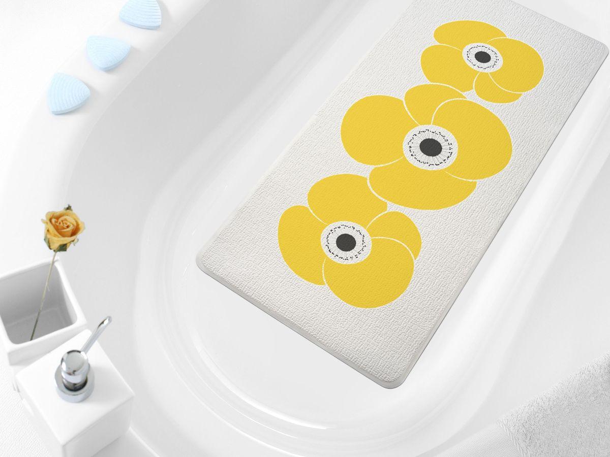 Коврик в ванну Bacchetta Petunia, цвет: оранжевый, 36 х 71 см4806Практичный коврик на присосках для ванной. Коврик выполнен из высококачественного вспененного ПВХ, поэтому изделие обладает мягкостью и эластичностью. Коврик подходит для всех типов ванн и душевых кабин, он хорошо фиксируется на поверхности за счет вакуумных присосок. Предназначен для использования в ванной или душевой кабине в гигиенических целях и для обеспечения безопасности. Коврик предотвращает возможность травм при падении на скользкой поверхности.