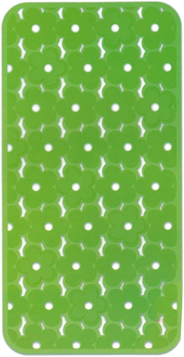 Коврик в ванну Bacchetta Fiore, цвет: зеленый, 36 х 71 см5147Коврик в ванну на присосках с эффектом противоскольжения. Материал - винил. Размер 36х71 см.