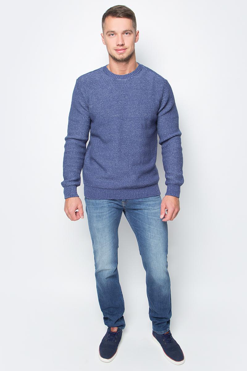 Джемпер мужской Baon, цвет: синий. B637513_Deep Navy Melange. Размер XXL (54) водолазка мужская baon цвет синий b727502 baltic blue melange размер xxl 54