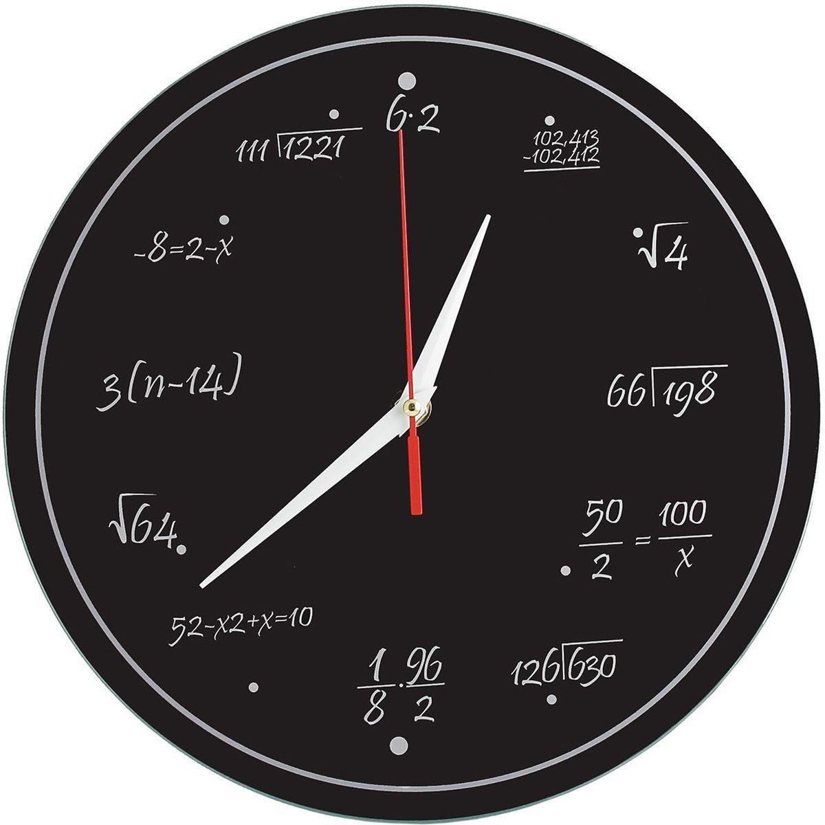 Часы настенные Эврика Забавная математика, стеклянные, 30 х 28 х 5 см97846Оригинальные часы выполнены на стеклянном основании. Размеры часов: 28 х 3 см. Механизм хода плавный, бесшумный (не тикают). Упаковка: коричневый картон.