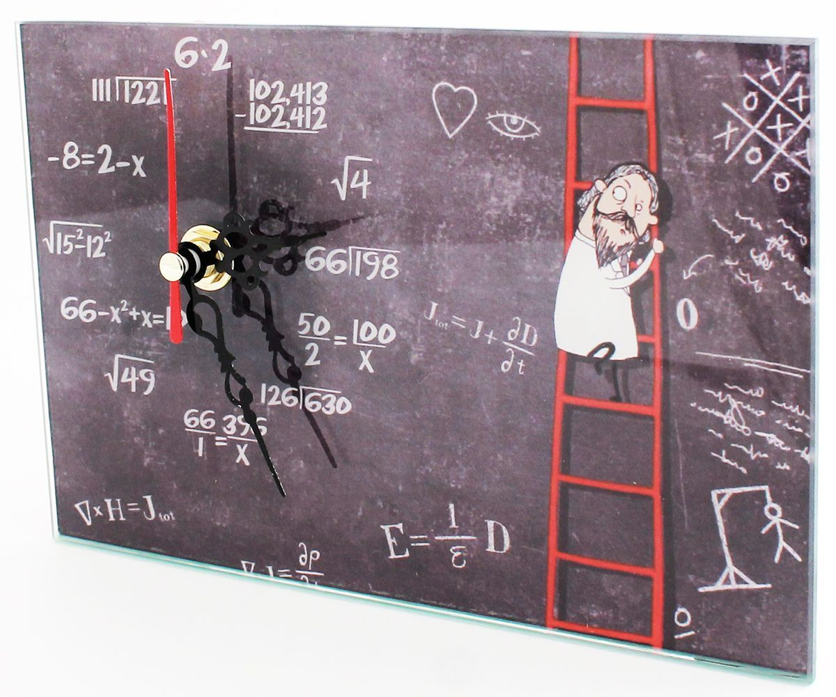 Часы настольные Эврика Математика, 18 х 12 х 2 см98096Оригинальные настольные Часы Эврика Математика изготовлены из стекла. Механизм хода часов бесшумный и плавный. Сзади расположен специальный упор, благодаря которому часы можно поставить на стол. Часы также можно повесить на стену с помощью специального металлического отверстия. Такие яркие необычные часы станут украшением вашего рабочего стола и подчеркнут ваш стиль. Отличный подарок друзьям и близким, который обязательно вызовет улыбку и радость. Часы работают от одной батарейки напряжением 1,5V типа AA (в комплект не входит).