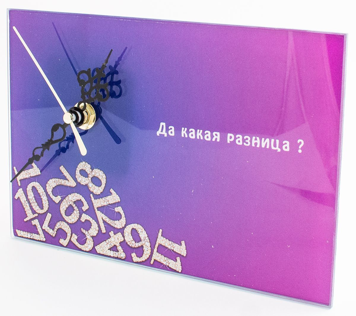 Часы настольные Эврика Да Какая Разница, стеклянные, 18 х 12 х 2 см98098Часы настольные стеклянные с механизмом бесшумного хода (не тикают) в белой картонной коробке. Размеры упаковки: 20 х 12 х 4 см. Элемент питания: 1хАА (1,5В).
