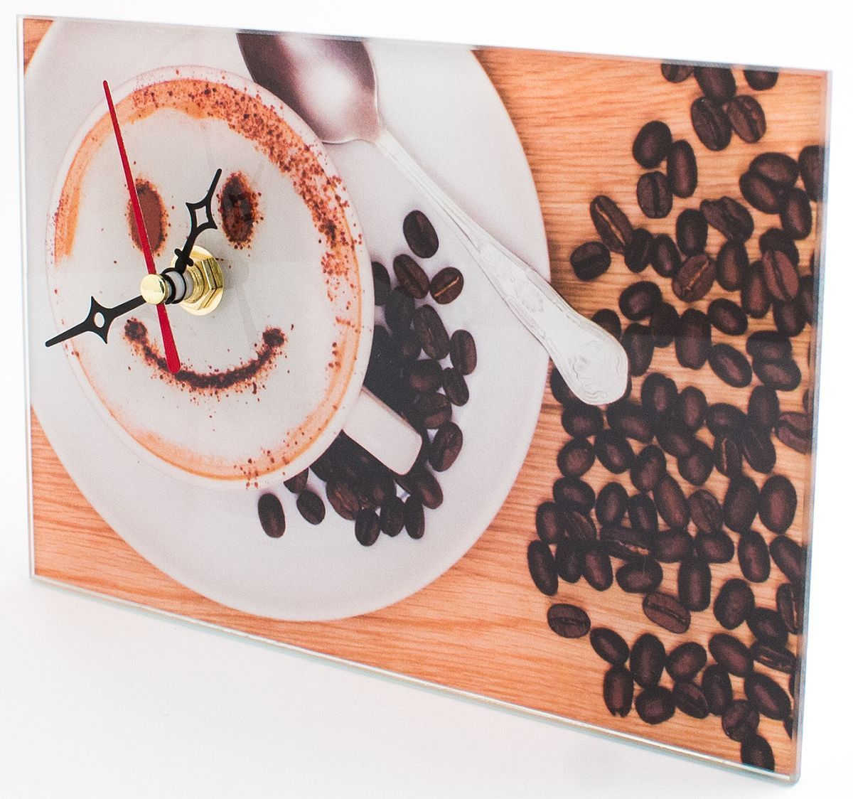 Часы настольные Эврика Кофе, стеклянные, 18 х 12 х 2 см98101Часы настольные стеклянные с механизмом бесшумного хода (не тикают) в белой картонной коробке. Размеры упаковки: 20 х 12 х 4 см. Элемент питания: 1хАА (1,5В).