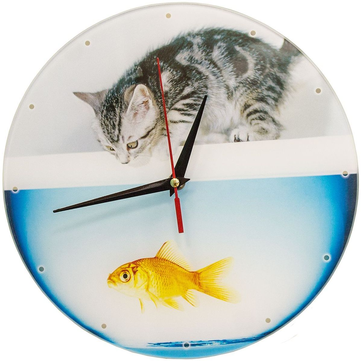 Часы настенные Эврика Котенок с рыбкой, стеклянные, 30 х 30 х 4 см98106Часы настенные стеклянные с механизмом бесшумного хода (не тикают) в белой картонной коробке. Размеры упаковки: 30 х 30 х 4 см. Элемент питания: 1хАА (1,5В).