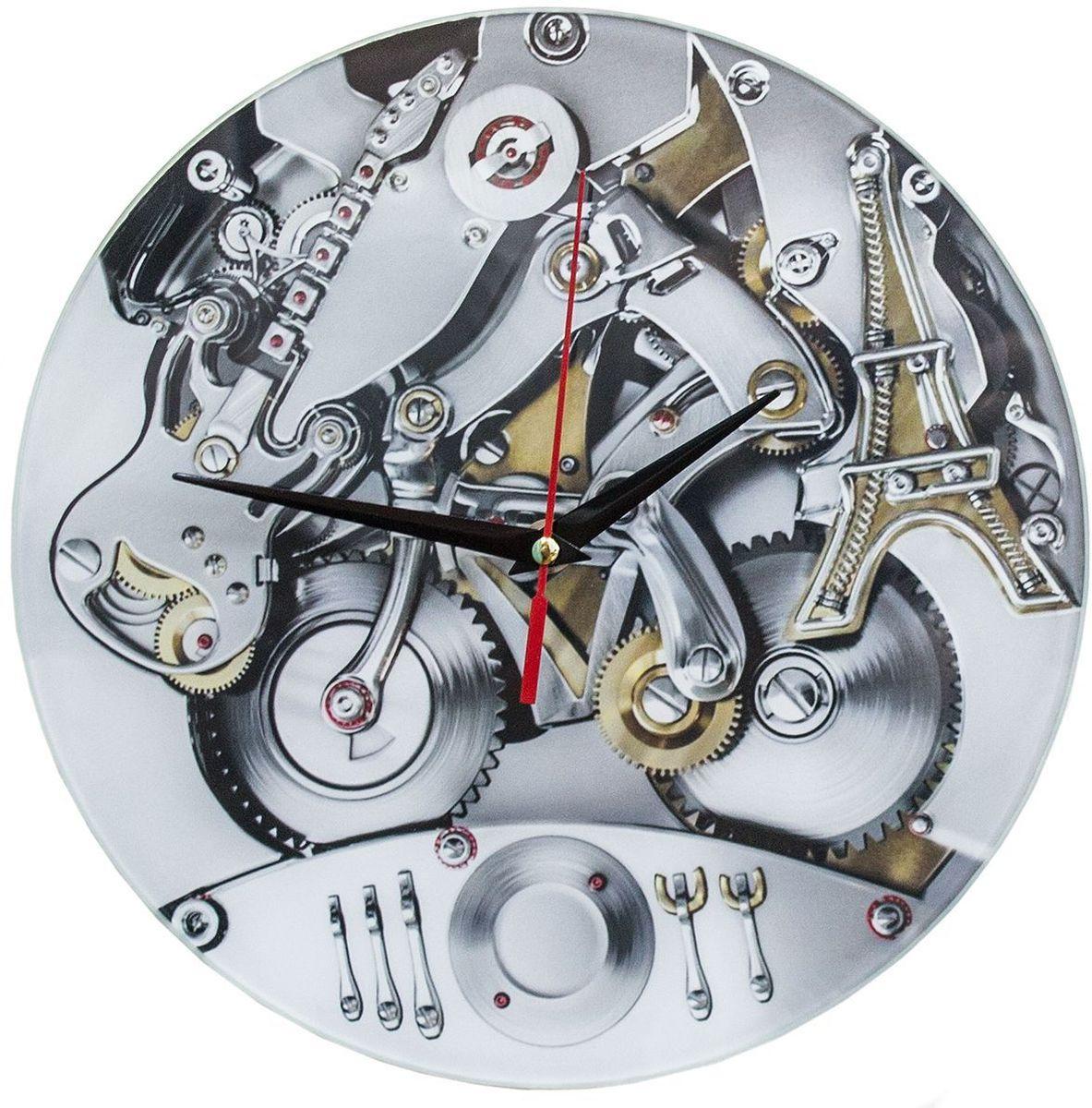Часы настенные Эврика Механизм98110Оригинальные часы Эврика Механизм круглой формы выполнены из стекла, с механизмом бесшумного хода. Часы имеют три стрелки - часовую, минутную и секундную. Необычное дизайнерское решение и качество исполнения придутся по вкусу каждому.Часы работают от 1 батарейки типа АА напряжением 1,5 В.