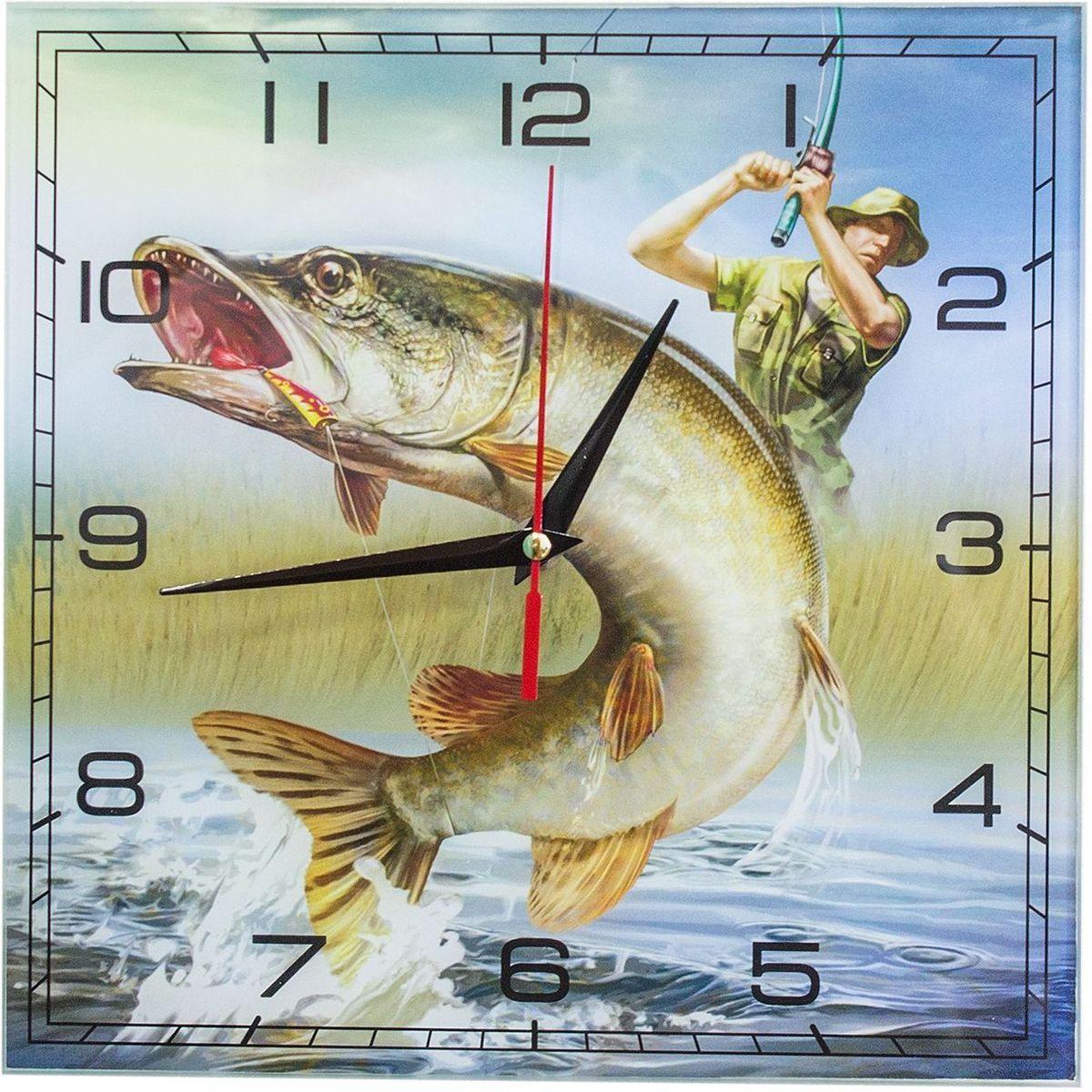 Часы настенные Эврика Рыбалка, стеклянные, 30 х 30 х 4 см98111Часы настенные стеклянные с механизмом бесшумного хода (не тикают) в белой картонной коробке. Размеры упаковки: 30 х 30 х 4 см. Элемент питания: 1хАА (1,5В).