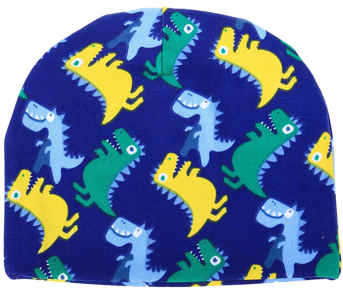 Шапочка детская КотМарКот Маленький Динозаврик, цвет: темно-синий, желтый. 8536. Размер 408536Мягкая детская шапочка от КотМарКот выполнена из интерлока и оформлена принтом. Шапочка защищает еще не заросший родничок, щадит чувствительный слух малыша и позволяет прикрыть ушки от ветра и холода.Материал шапочки мягкий и тактильно приятный, не раздражает нежную кожу ребенка и хорошо пропускает воздух. Уважаемые клиенты!Размер, доступный для заказа, является обхватом головы.