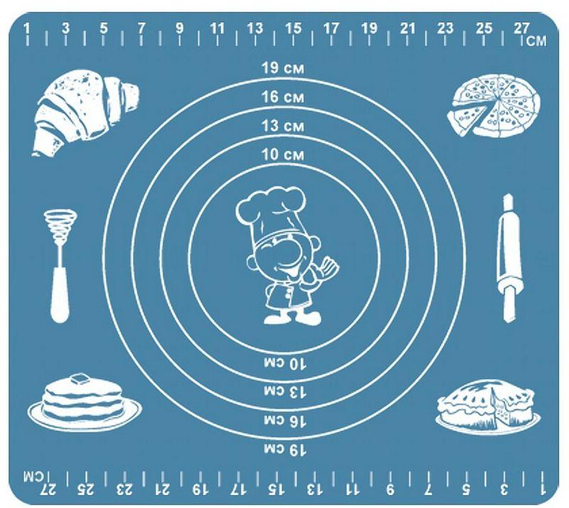 """Коврик кулинарный """"Мультидом"""", выполненный из силикона, обладает антипригарными  свойствами его можно использовать для приготовления пищи в духовом шкафу на противнях или  в микроволновой печи (выдерживает температуру от -30 C до +220 градусов С), а также при  хранении продуктов в морозильной камере. Удобно использовать коврик для раскатывания  теста, а также в качестве подставки под горячие предметы. Внимание! Противопоказано использование в печах с открытым огнем и с функцией гриль, где  температура превышает 220 градусов, а также нельзя использовать коврик для нарезки  продуктов. После применения рекомендуется мыть мягкой губкой с использованием жидких моющих средств. Противопоказаны абразивные материалы и жесткие щетки. В процессе использования может исчезнуть яркость цвета, но это не влияет на качество изделия."""