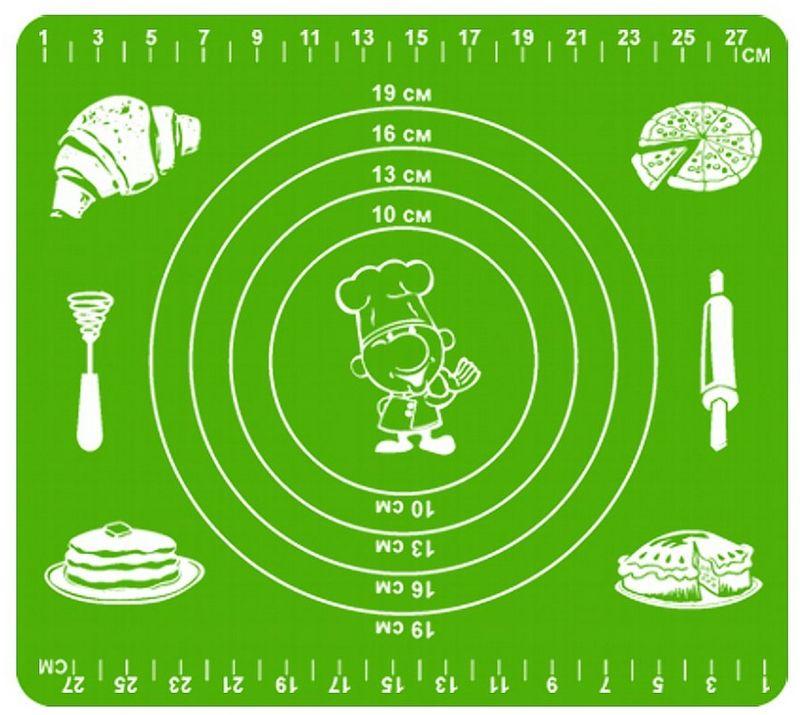 Коврик кулинарный Мультидом, силиконовый, цвет: зеленый, 29 х 26 смDH80-134Предметы из силикона необходимы каждой хозяйке, так как они современны, многофункциональны, удобны в обращении, гигиеничны, не впитывают запахи, не выделяют вредных веществ и абсолютно безвредны для здоровья.Коврик из силикона обладает антипригарными свойствами его можно использовать для приготовления пищи в духовом шкафу на противнях или в микроволновой печи (выдерживает температуру от -30 C до +220 градусов С), а также при хранении продуктов в морозильной камере. Удобно использовать коврик для раскатывания теста, а также в качестве подставки под горячие предметы.Внимание! Противопоказано использование в печах с открытым огнем и с функцией гриль, где температура превышает 220 градусов, а также нельзя использовать коврик для нарезки продуктов.После применения рекомендуется мыть мягкой губкой с использованием жидких моющих средств. Противопоказаны абразивные материалы и жесткие щетки.