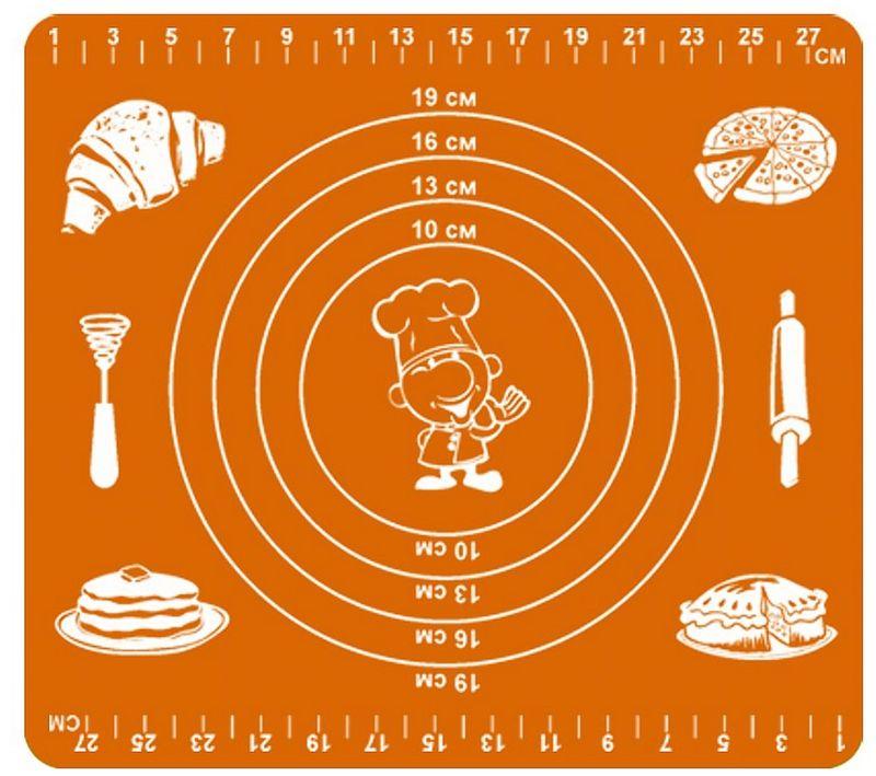Коврик кулинарный Мультидом, силиконовый, цвет: оранжевый, 29 х 26 смDH80-134Предметы из силикона необходимы каждой хозяйке, т. к. они современны, многофункциональны, удобны в обращении, гигиеничны, не впитывают запахи, не выделяют вредных веществ и абсолютно безвредны для здоровья.Коврик кулинарный Мультидом, изготовленный из силикона, обладает антипригарными свойствами его можно использовать для приготовления пищи в духовом шкафу на противнях или в микроволновой печи (выдерживает температуру от -30°С до +220°С), а также при хранении продуктов в морозильной камере. Удобно использовать коврик для раскатывания теста, а также в качестве подставки под горячие предметы. Внимание! Противопоказано использование в печах с открытым огнем и с функцией гриль, где температура превышает 220°С, а также нельзя использовать коврик для нарезки продуктов.После применения рекомендуется мыть мягкой губкой с использованием жидких моющих средств. Противопоказаны абразивные материалы и жесткие щетки. В процессе использования может исчезнуть яркость цвета, но это не влияет на качество изделия. Размер 29 х 26 см.
