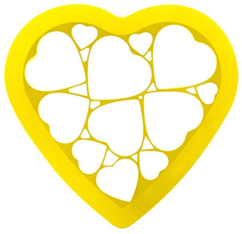 Форма для печенья Мультидом Сердечки, цвет: желтый, 23 х 25 смDH80-230Если вы любите побаловать своих домашних вкусным и ароматным печеньем или пряниками, тоэта форма - как раз то, что нужно! С помощью этой формы вы сможете одновременно вырезать 12 сердечек различного размера. Готовое печенье можно украсить сахарной пудрой или глазурью, поэтому процесс выпечкипревращается в настоящее творчество! Перед использованием и после, промойте форму проточной водой, можно с использованиемжидкого моющего средства. Можно мыть в посудомоечной машине.