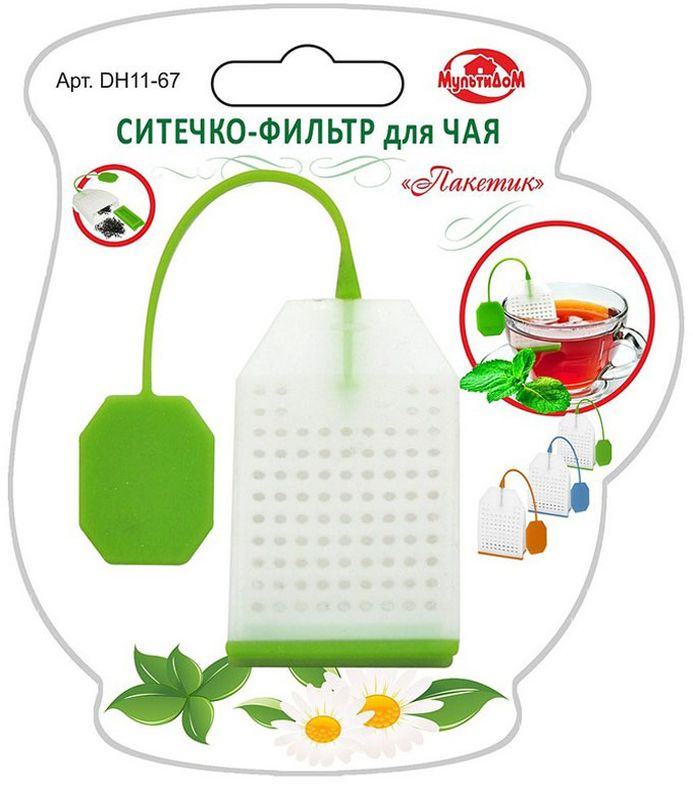 Ситечко-фильтр для чая Мультидом Пакетик, цвет: зелёныйDH11-67Применяется для заваривания чая непосредственно в чайной посуде. Ситечко-фильтр позволит Вам насладиться свежезаваренным чаем без чаинок, сэкономит расход чая, а оригинальный дизайн вызовет улыбку и поднимет настроение в любой компании.Незаменимый аксессуар на кухне, в поездках и путешествиях.Изготовлено из силикона.Силиконовое ситечко выдерживает температуру до +250 градусов.Можно мыть в посудомоечной машине.ВНИМАНИЕ!В процессе использования может исчезнуть яркость цвета, но это не влияет на качество изделия.