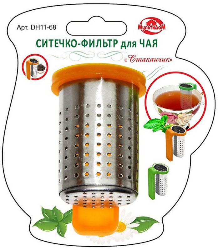 Ситечко-фильтр для чая Мультидом Стаканчик, цвет: оранжевыйDH11-68Ситечко-фильтр для чая Мультидом Стаканчик применяется для заваривания чая непосредственно в чайной посуде. Ситечко-фильтр позволит вам насладиться свежезаваренным чаем без чаинок, а также сэкономит расход чая. Достаточно наполнить стаканчик чаем и повесить его на край кружки. Незаменимый аксессуар на кухне в поездках и путешествиях.Изготовлено из коррозионностойкой (нержавеющей) стали, ручка из полистирола.