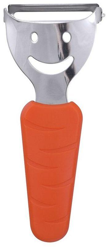 Овощечистка Мультидом Арт-улыбка, цвет: оранжевыйAN53-8Овощечистка Мультидом Арт-улыбка - незаменимое приспособление на каждой кухне. Предназначена для очистки любых овощей и фруктов. Благодаря плавающему ножу специальной формы, овощечистка снимает кожуру с овощей и фруктов тончайшим слоем, экономя овощи и фрукты и сохраняя максимум витаминов в плодах.Очень проста в применении и уходе, а оригинальный дизайн ручки овощечистки украсит вашу кухню.После использования промыть под проточной водой с использованием жидкого моющего средства. Изготовлено: режущее лезвие из коррозионностойкой (нержавеющей) стали, ручка из пластика (полипропилен, TPR).