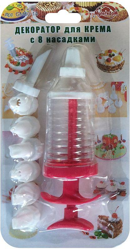 Шприц кондитерский Мультидом, с насадками, цвет: красныйGM80-14Шприц Мультидом предназначен для приготовления и декорирования выпечки, кондитерский изделий. Использование насадок различного размера позволит получить желаемую толщину выдавливаемого крема. После применения промыть с использованием жидких моющих средств. Не рекомендуется мыть с абразивными моющими средствами и металлическими губками. Изготовлено из качественного полистирола. В комплект входит шприц для крема и 8 насадок.
