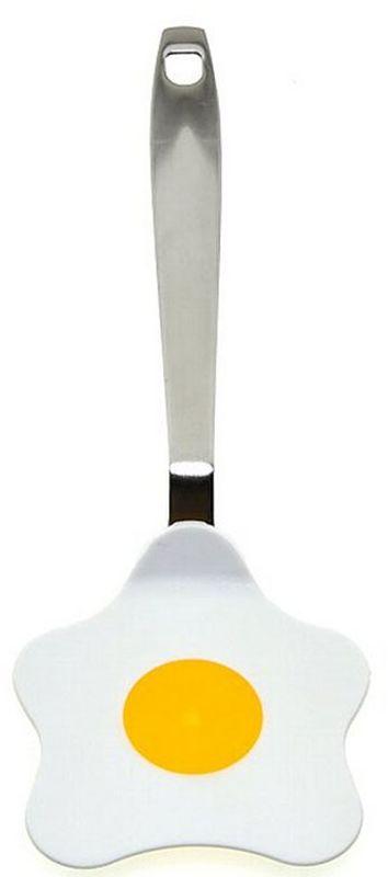 """Из предметов, используемых на кухне, лопатка для яичницы Мультидом """"Цветок"""" придется по душе любителям """"необычного"""" и """"нестандартного"""".  Ручка лопатки изготовлена из нержавеющей стали. Рабочая поверхность лопатки выполнена из нейлона в виде яичницы, она не повреждает посуду, выдерживает температуру до 200°С, не впитывает запахи и не выделяет никаких примесей.  Отверстие для подвешивания сэкономит место в шкафу.   Подходит для мытья в посудомоечной машине."""