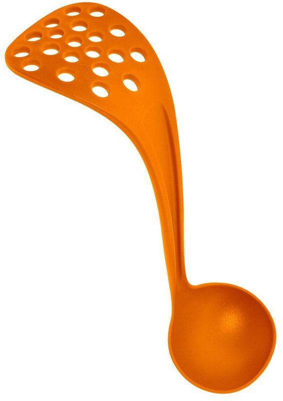 Половник-картофелемялка Мультидом, цвет: оранжевый9068Это приспособление от компании Мультидом является одновременно лопаткой и половником. Лопатка предназначена для переворачивания порционных блюд (блинов, оладий, котлет, мяса) во время их приготовления. Половник предназначен для разливания жидких блюд.