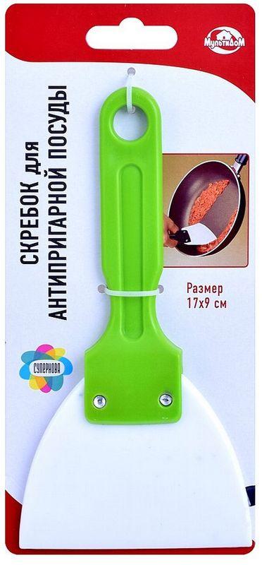 Скребок для антипригарной посуды Мультидом, цвет: зеленыйDH58-165Удобный инструмент предназначен для очистки антипригарных поверхностей посуды, таких как сковороды, противни и т.п. Антипригарное покрытие нуждается в бережном отношении и очищать его стоит очень аккуратно!Благодаря скребку для антипригарной посуды, Вы легко справитесь с этой задачей, не поцарапав очищаемую поверхность. Скребок также подойдет для очистки поверхностей плит. Изготовлено из пластмассы (полипропилен).