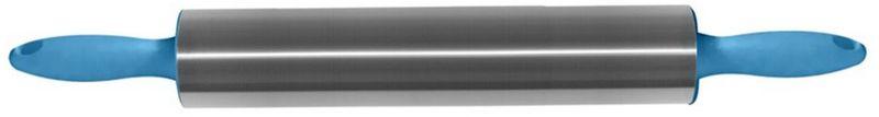 Скалка Мультидом, цвет: синий, длина 42 смAN80-116Скалка Мультидом представляет собой вытянутый цилиндр с пластиковыми ручками. Рабочая часть изготовлена из нержавеющей стали. Используется на кухне для раскатывания теста во время приготовления выпечки. Скалка проста в уходе, абсолютно гигиенична, легко моется с использованием жидких моющих средств. Внимание! Не используйте абразивные материалы и жесткие щетки.Изготовлено: рабочая часть из коррозионностойкой (нержавеющей) стали, ручки из полипропилена.Размер: общая длина 42 см, рабочая часть 22 см.