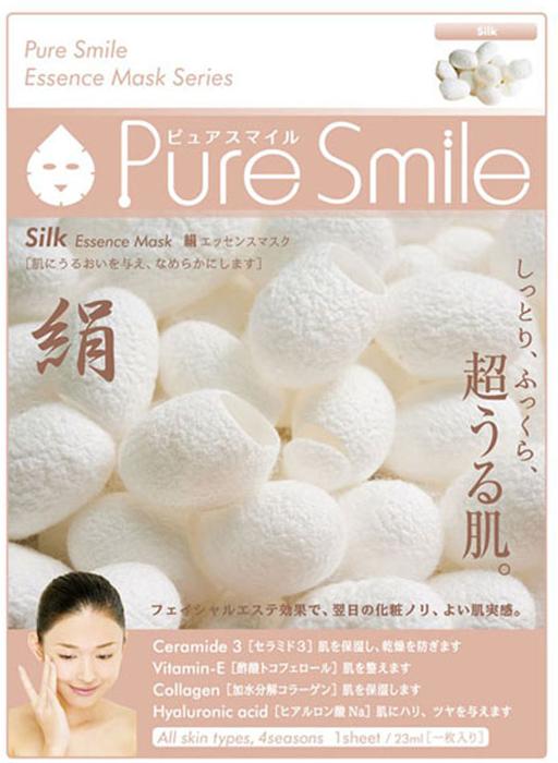 Pure Smile Essence Mask Разглаживающая маска для лица с эссенцией шелка, 23 мл042266Еженедельный уход - это неотъемлемая процедура для полноценного ухода за кожей лица. Необходимо каждую неделю использовать различные маски. Преимущество нужно отдать увлажняющим, питательным, и маскам для повышения упругости кожи. Все эти функции вы найдете в линии Pure Smile. Эти маски настоящие волшебные палочки, способные моментально преобразить вашу кожу. Ведь сыворотка, которая используется для пропитки маски, имеет тройную концентрацию активных компонентов. За короткое время воздействия, маска отдает всю силу полезных ингредиентов вашей коже. Коллаген в составе сыворотки наполняет кожу влагой, восстанавливает плотность и упругость кожи. Эссенция шелка стимулирует регенерацию и обновление тканей, великолепно разглаживает кожу, наделяет ее внутренним сиянием.