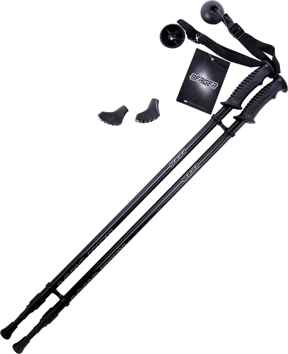 Палки для скандинавской ходьбы Berger  Longway , двухсекционные, цвет: черный, 77-130 см - Скандинавская ходьба