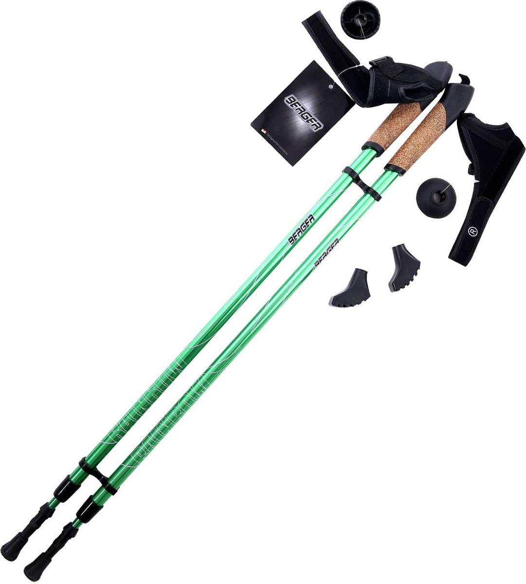 Палки для скандинавской ходьбы Berger  Rainbow , двухсекционные, цвет: зеленый, 86-140 см - Скандинавская ходьба