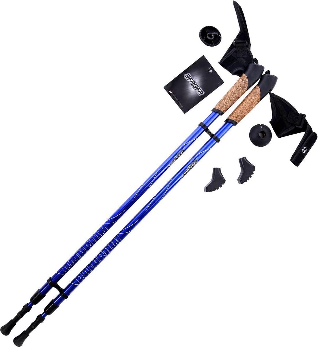 Палки для скандинавской ходьбы Berger  Rainbow , двухсекционные, цвет: синий, 86-140 см, 2 шт - Скандинавская ходьба