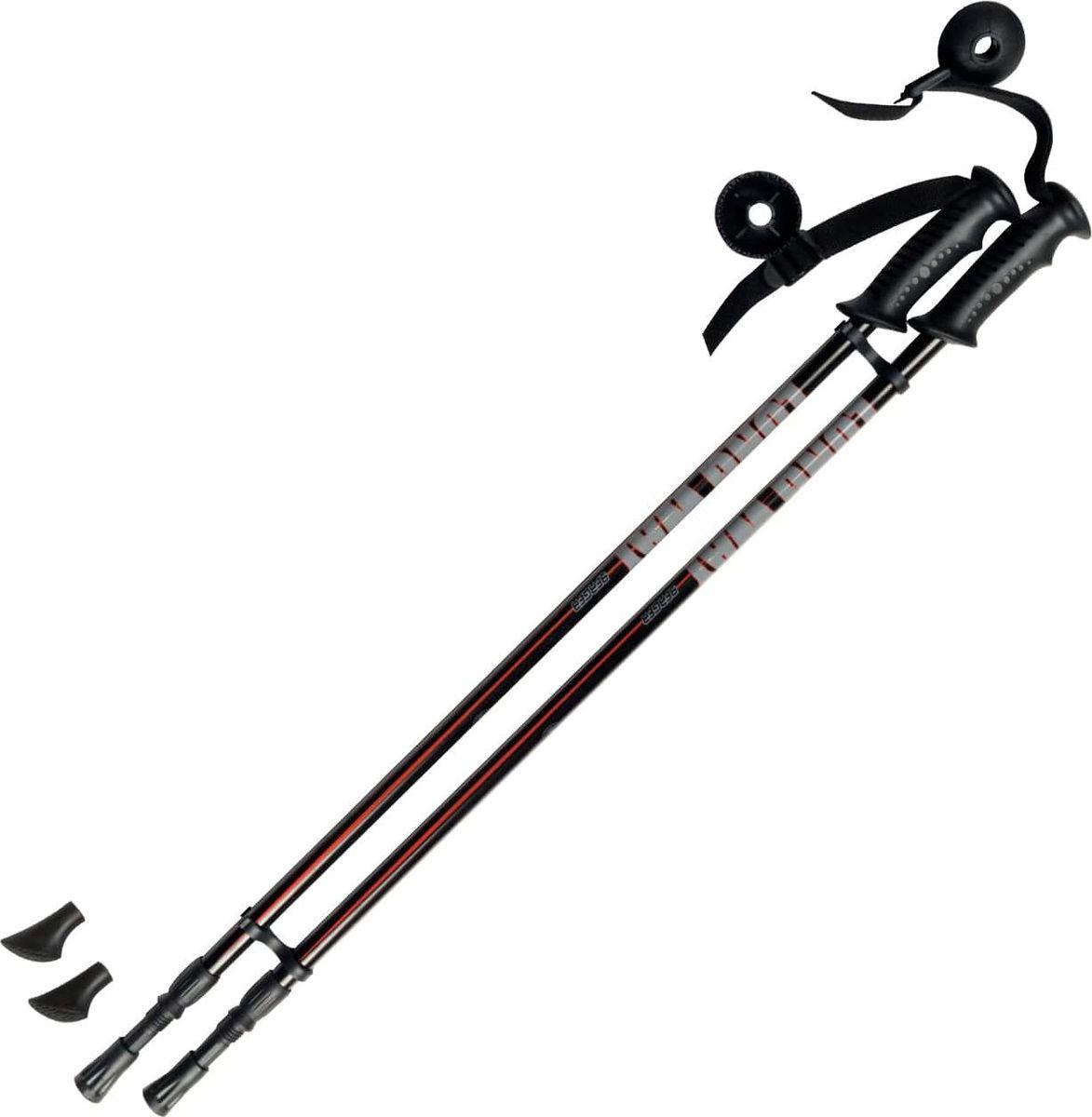 Палки для скандинавской ходьбы Berger  Longway , двухсекционные, цвет: черный, красный, 78-135 см, 2 шт - Скандинавская ходьба