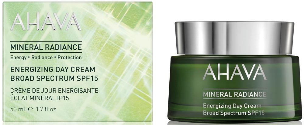 Ahava Mineral Radiance Минеральный дневной крем придающий сияние и энергию spf 15, 50 мл88015065Восстанавливает сияние кожи и наполняет ее ежедневной энергией. Особенности и преимущества: • Обеспечивает кожу суточной гидратацией и энергией - Osmoter , Trehalose, Signaline S ; • Усиливает сияние кожи - Signaline S ; • Успокаивает раздражение, вызванное загрязнителями - Osmoter и Signaline S, Бисаболол; • Укрепляет барьер кожи, предотвращает обезвоживание, улучшает текстуру и мягкость кожи - Lipigenine ; • Щит от загрязнений, ультрафиолетового излучения широкого спектра и инфракрасного излучения - OsmoGuard .
