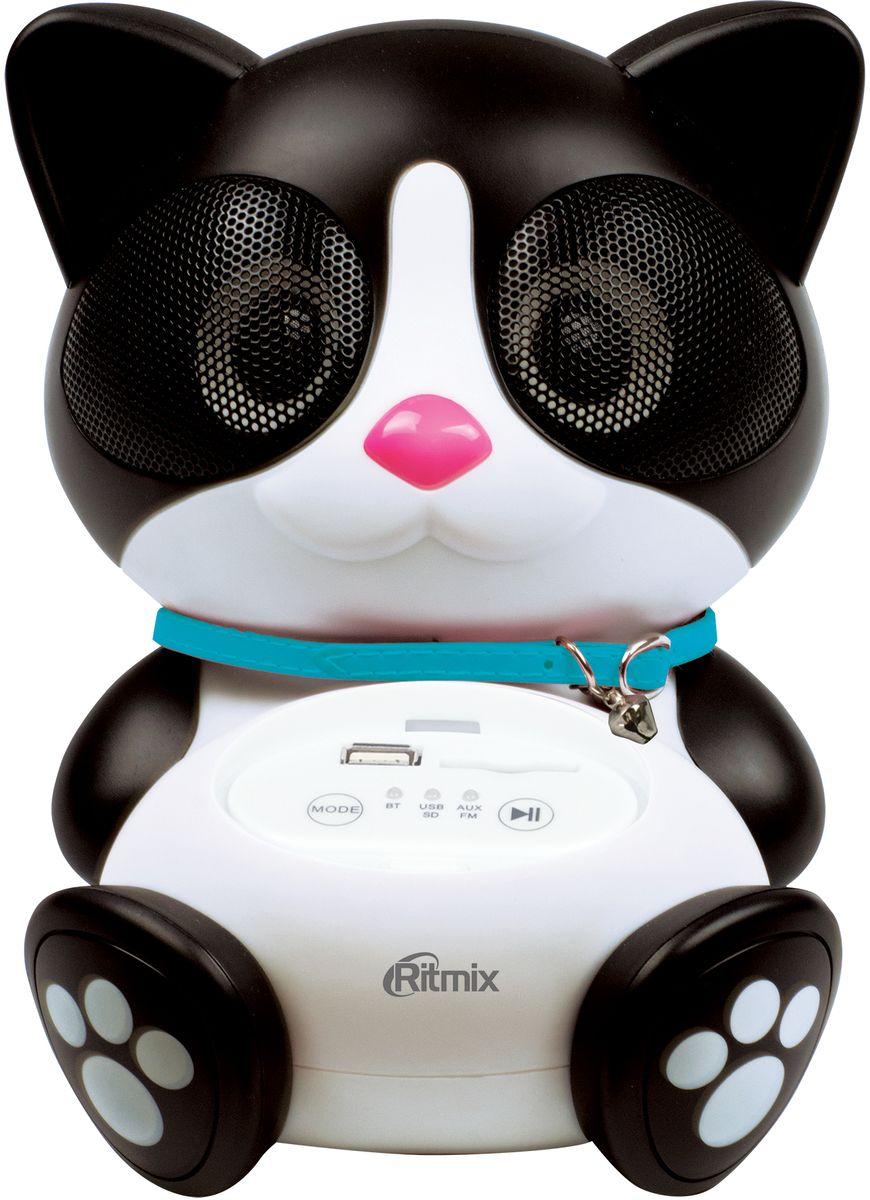 Ritmix ST-660 Cat BT портативная акустическая система15118957Ritmix ST-660 Cat BT – милая колонка-котик, которая станет необычным функциональным подарком на любой праздник. Это полнофункциональная аудиосистема с функцией радио, которая отличается высоким качеством звучания и совместима с большинством мультимедийных и аудиоустройств (мобильные телефоны, MP3-плееры, персональные компьютеры, ноутбуки, планшетные компьютеры и другое).ST-660 Cat BT прекрасно подойдет для прослушивания музыки, аудиокниг и образовательных аудиоуроков. Колонка удобна и проста в управлении, питается как от сети, так и от батареек, что позволит брать её с собой на прогулки. Доступно несколько вариантов работы устройства: ST-660 Cat BT проигрывает музыку с SD-карт памяти, через Bluetooth-соединение, а также через AUX или USB-хост (до 32 Гб).Колонка имеет гипоаллергенный корпус. Также стоит отметить несомненный бонус: при покупке Ritmix ST-660 Cat BT в подарок идёт аудиокнига с сайта ЛитРес. У вас будет возможность выбрать книгу из предложенного списка на ваш выбор.Как выбрать портативную колонку. Статья OZON Гид