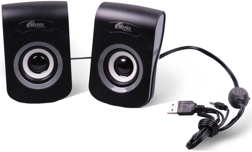 Ritmix SP-2060, Black Grey акустическая система15119009Ritmix SP-2060 - это мультимедийная акустическая стереосистема 2.0. Идеальна для использования с персональными компьютерами, ноутбуками, CD, MP3, TV и другими совместимыми аудио устройствами. Имеет регулятор громкости для удобного управления.