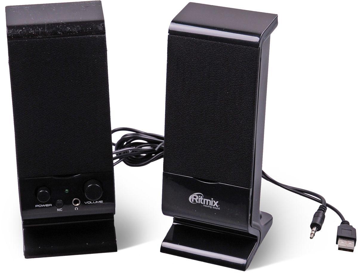 Ritmix SP-2080, Black акустическая система15119011Ritmix SP-2080 - это мультимедийная акустическая стереосистема 2.0 с разъёмом для подключения наушников. Идеальна для использования с персональными компьютерами, ноутбуками, CD, MP3, TV и другими совместимыми аудио устройствами. Имеет регулятор громкости для удобного управления.
