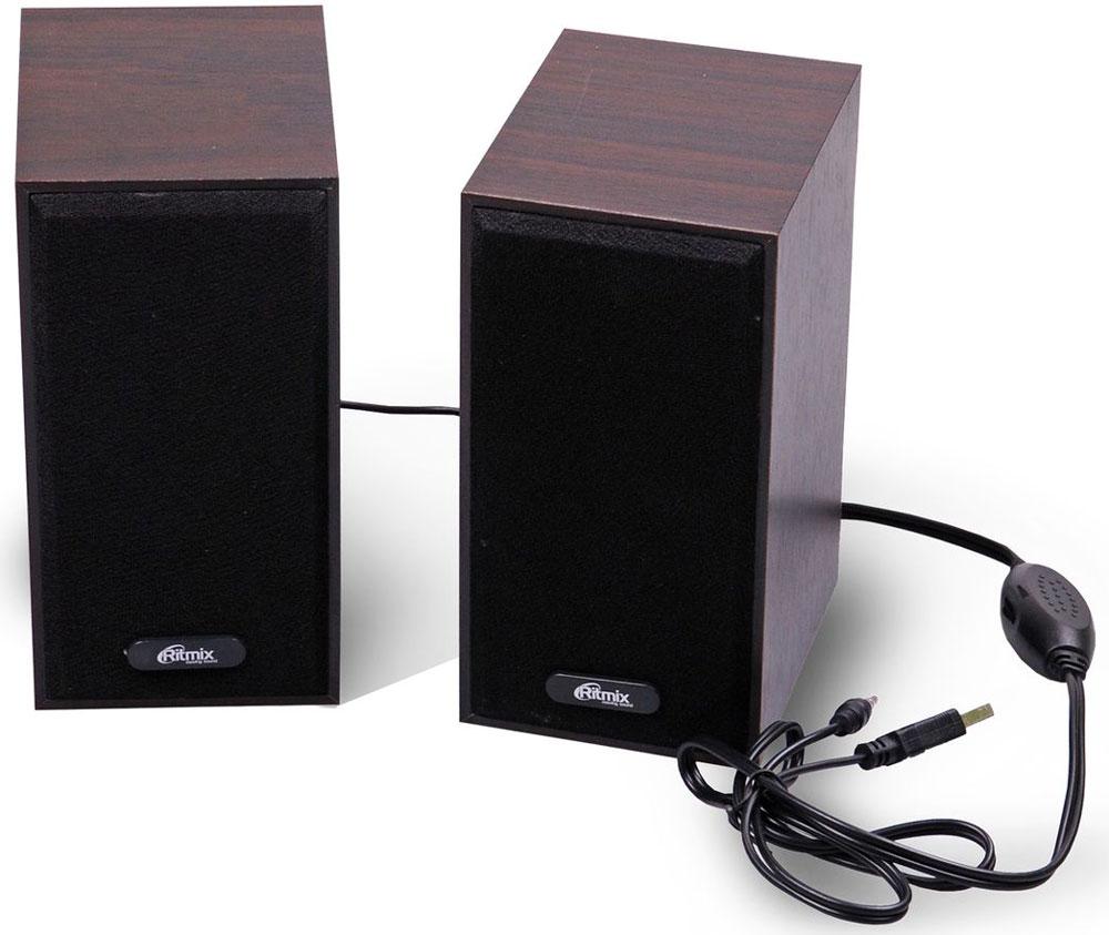 Ritmix SP-2011w, Dark Brown акустическая система15119014Ritmix SP-2011w - это мультимедийная акустическая стереосистема 2.0. Идеальна для использования с персональными компьютерами, ноутбуками, CD, MP3, TV и другими совместимыми аудио устройствами. Имеет регулятор громкости для удобного управления.