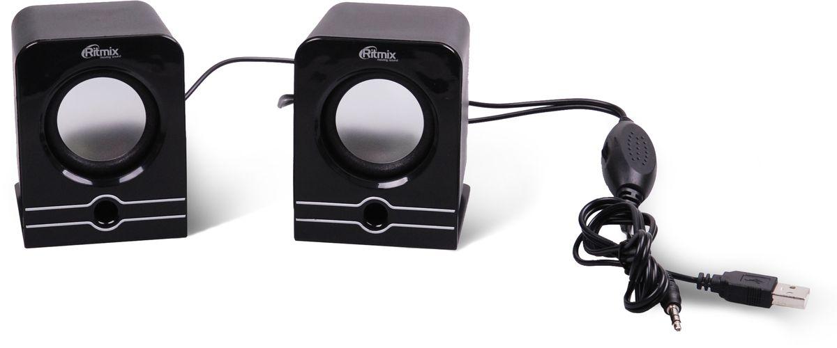 Ritmix SP-2040, Black акустическая система15119040Ritmix SP-2040 - это мультимедийная акустическая стереосистема 2.0. Идеальна для использования с персональными компьютерами, ноутбуками, CD, MP3, TV и другими совместимыми аудио устройствами. Имеет регулятор громкости для удобного управления.