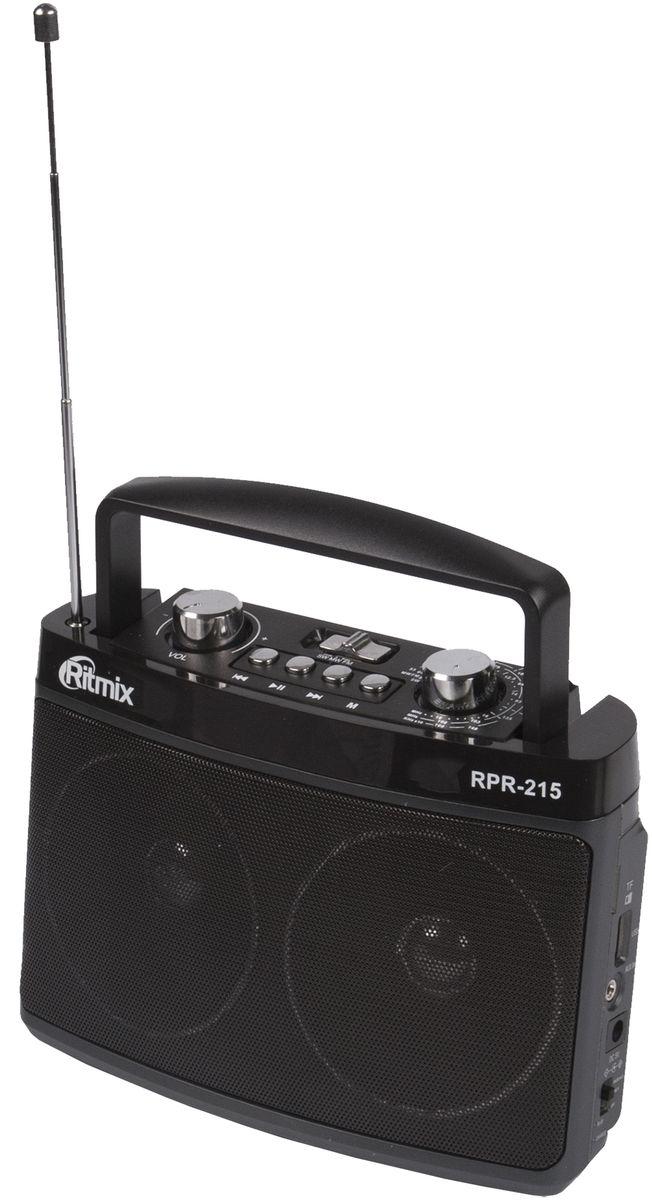 Ritmix RPR-215, Gray радиоприемник15119049Ritmix RPR-215 – портативный трёхдиапазонный радиоприёмник, охватывающий в том числе и FM-диапазон. Дополнительная функция RPR-215 –воспроизведение mp3-файлов с карт памяти или USB-флэшки. Радиоприемник снабжен встроенной батареей.Портативный трёхдиапазонный радиоприемник FM / AM / SW- Функция MP3-плеера (читает файлы с microSD/SD/USB носителей)- Питание от встроенного аккумулятора, от сети 220В, от батареек типа D (2 штуки, в комплект не входят)- Телескопическая антенна для уверенного приема- AUX IN
