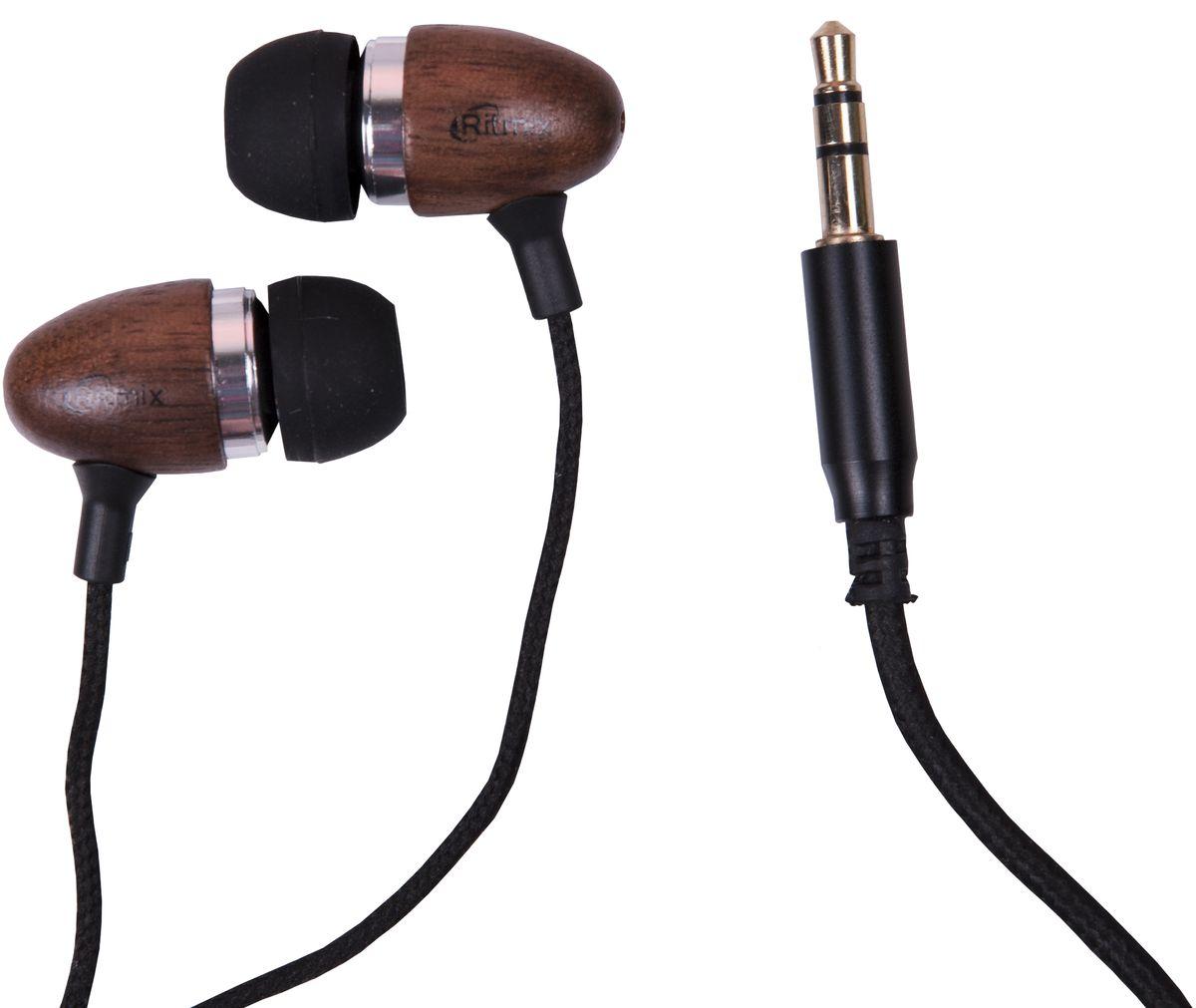 Ritmix RH-158, Dark Venge наушники15119056Ritmix RH-158 – это портативные наушники, предназначенные для использования с телефонами, планшетами, MP3-плеерами. Модель снабжена прочным текстильным проводом, а ее корпус выполнен из дерева. В комплекте имеются дополнительные амбушюры.