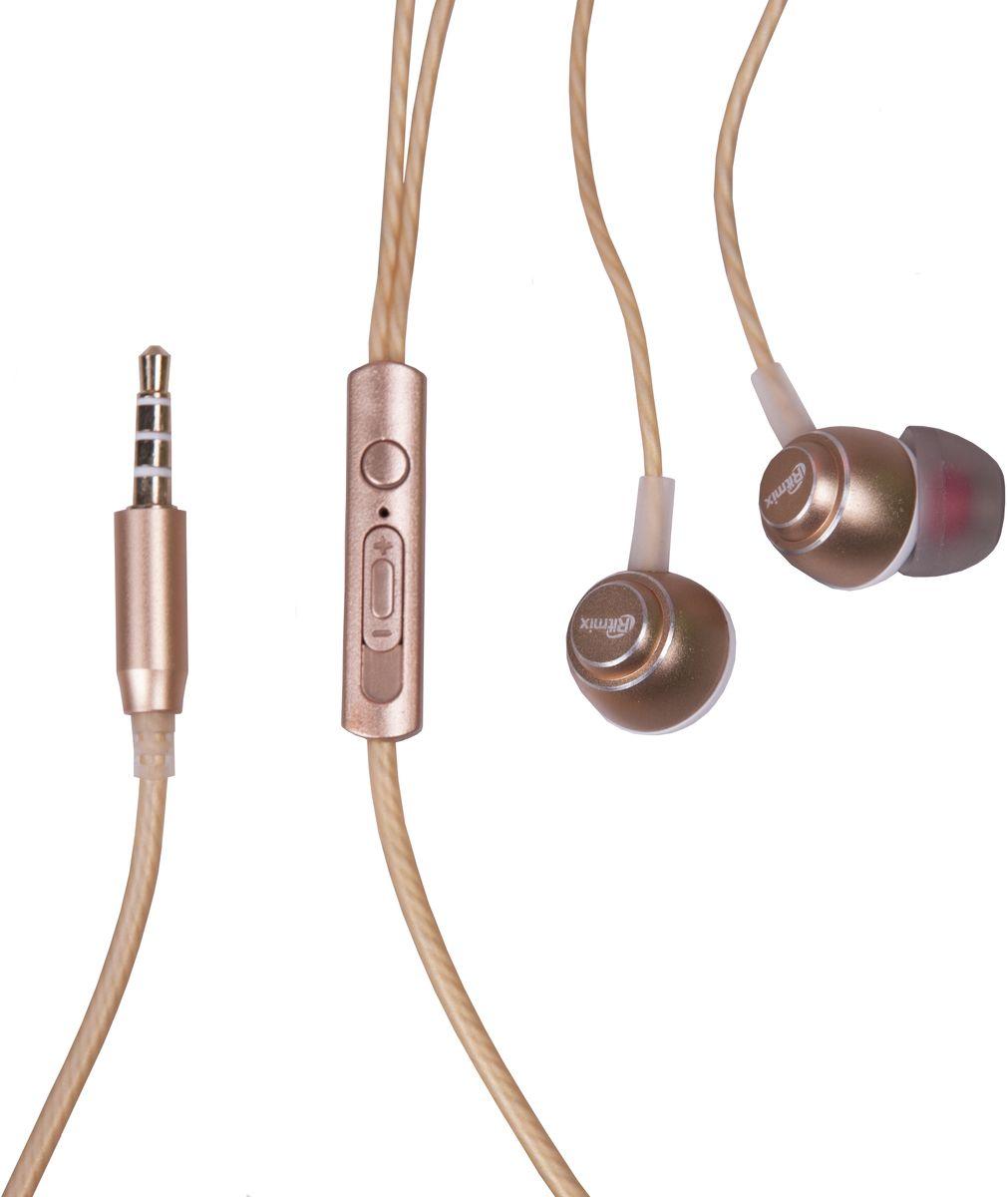 Ritmix RH-150M, Gold наушники15119158Ritmix RH-150M – это портативные наушники-вкладыши с функцией гарнитуры в алюминиевом корпусе. Выпускаются в трёх цветовых решениях и предназначены для использования с телефонами, планшетами и MP3-плеерами. В комплекте имеются дополнительные амбушюры.