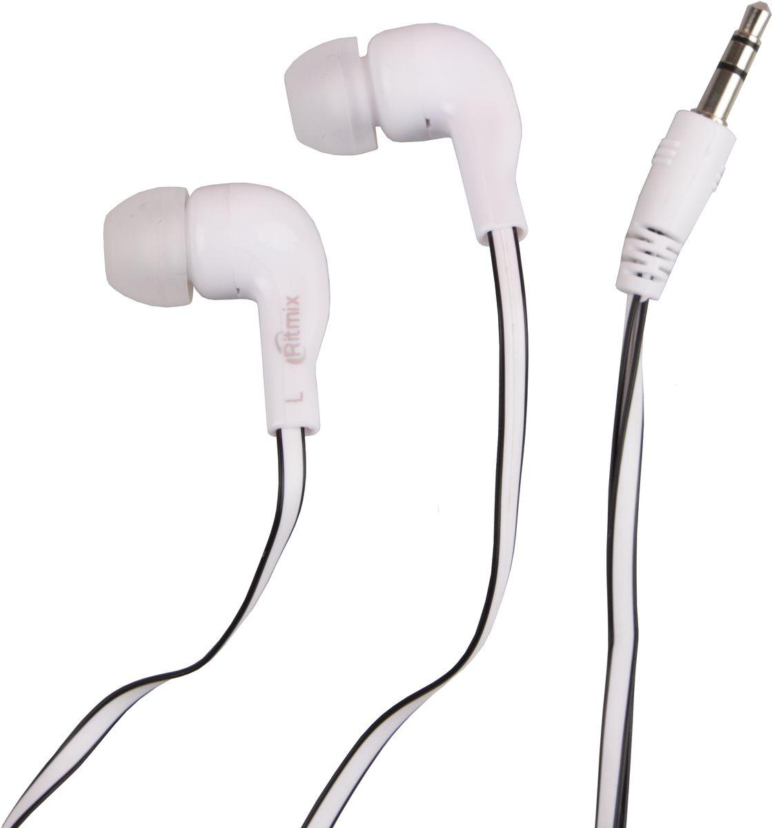 Ritmix RH-004, White наушники15119171Ritmix RH-004M - это портативные наушники-вкладыши с плоским кабелем. Предназначены для использования с телефонами, планшетами и MP3-плеерами. В комплекте имеются дополнительные амбушюры. Модель представлена в трёх цветах: чёрном, белом и кофейном.