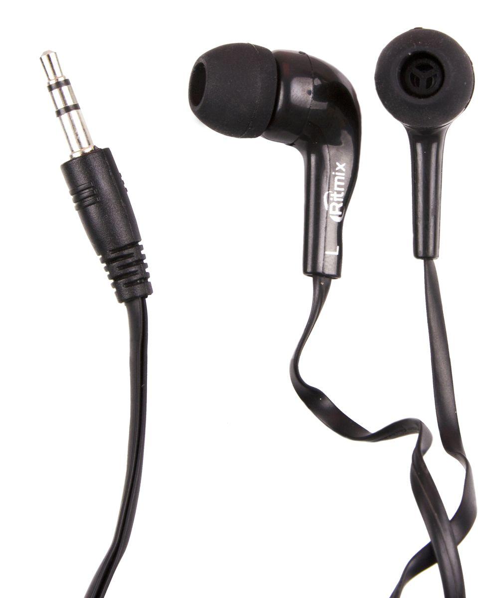 Ritmix RH-004, Black наушники15119172Ritmix RH-004M - это портативные наушники-вкладыши с плоским кабелем. Предназначены для использования с телефонами, планшетами и MP3-плеерами. В комплекте имеются дополнительные амбушюры. Модель представлена в трёх цветах: чёрном, белом и кофейном.