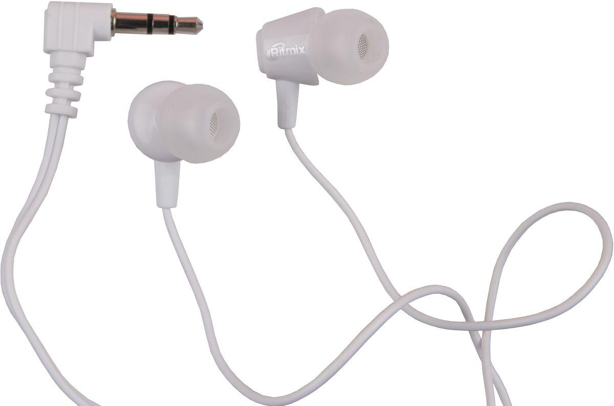 Ritmix RH-011, White наушники15119223Ritmix RH-010 - это портативные наушники-вкладыши для использования с телефонами, планшетами, MP3-плеерами.Эргономичный дизайнУдобная посадка