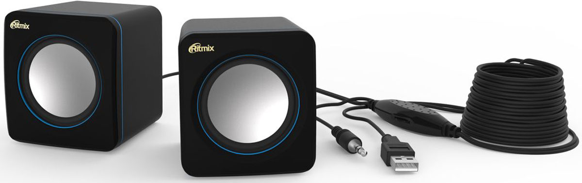 Ritmix SP-2010, Black Blue акустическая система61000569Ritmix SP-2010 - это мультимедийная акустическая стереосистема 2.0. Идеальна для использования с персональными компьютерами, ноутбуками, CD, MP3, TV и другими совместимыми аудио устройствами. Имеет регулятор громкости для удобного управления.